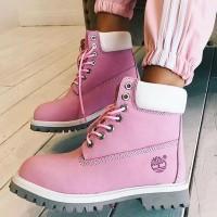 Timberland ботинки 10061 розовые зимние с мехом (36-41)