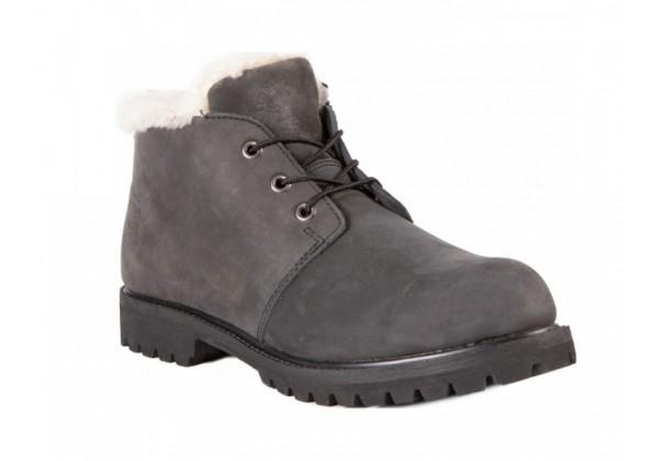 Мужские ботинки Timberland 10061 Black Shot серые зимние с мехом