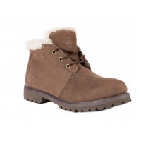 Мужские ботинки Timberland 10061 Brown Shot коричневые зимние с мехом
