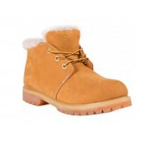 Мужские ботинки Timberland 10061 Yellow Shot желтые зимние с мехом