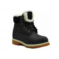 Timberland ботинки 18027 черные зимние с мехом (36-46)