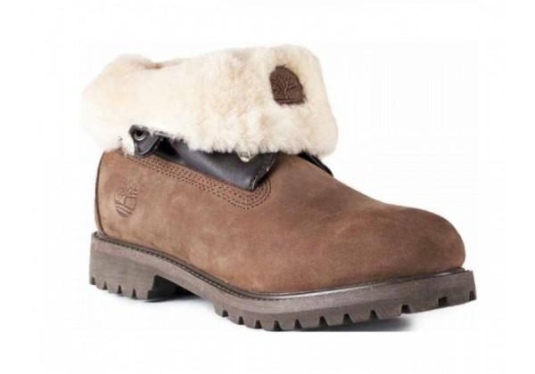 Женские Timberland Roll-Top Brown коричневые зимние с мехом