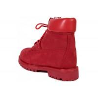 Timberland ботинки 10061 красные зимние с мехом (36-40)