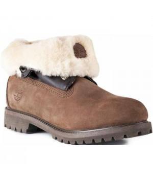 Timberland Roll-Top Brown коричневые зимние с мехом