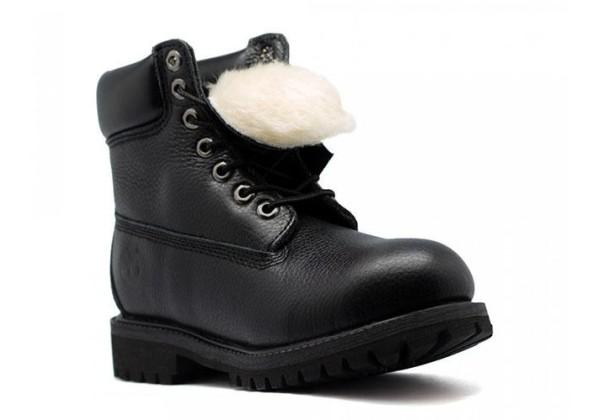 Timberland ботинки 10061 кожаные черные зимние с мехом (36-46)