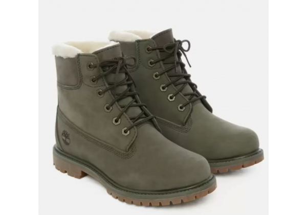 Timberland ботинки 6 Inch Shearling Boot зеленые